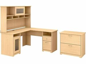Bush Furniture 60 L shaped Desk With Hutch And Lateral File Cabinet Natural