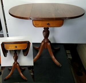 Vintage Claw Foot Folding Dual Drop Leaf Pedestal Accent Side Table Solid Wood