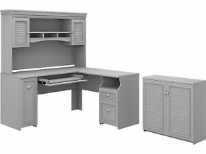 Bush Furniture Fairview 60 L shaped Desk With Hutch And Small Storage Cabinet
