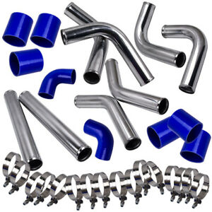 2 5 Universal Turbo Intercooler Piping Kit Blue Piping Pipe Set W Couplers