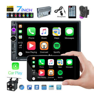 Double 2din Car Stereo Radio Apple Android Car Play Bt 7 Touch Screen Camera