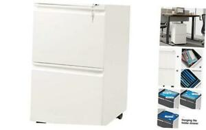 2 drawer Mobile File Cabinet With Lock Vertical Filing Cabinet White