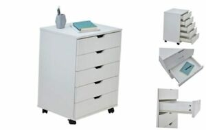 5 Drawer Unit File Cabinet Under Desk Storage Cart For Home Office With White