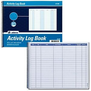 Adams S1185 Activity Log Book 11 X 8 1 2 100 Pages
