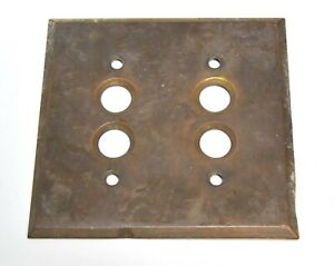 Vintage Double Switch Push Button Brass Cover Switch Plates