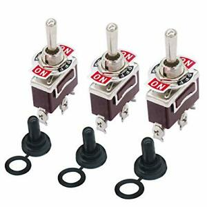 3pcs Switch Toggle Rocker Heavy Duty With Boot For 20a 125v Spdt 3 Position 3