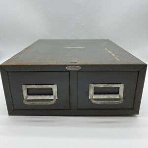 Vintage Cole Steel Two Drawer Index Card Stackable Metal File Cabinet 16x12 5x5