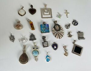 Vintage Lot Of 23 Sterling Silver 925 Pendants Charms Multi Stone 106 Grams