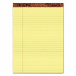 Tops Legal Rule Writing Pads 8 1 2 X 11 3 4 Canary Yellow Paper Pack 12
