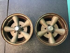 Pair Of 14x6 Inch Ford Dodge Vintage Mag Wheels Chrome With Alloy Center 5 On 4