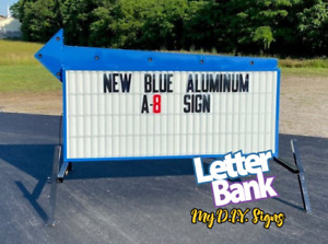New Blue A8 Readerboard Sign By Letterbank In Blue Aluminum Lighted Letters