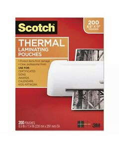Scotch 200 Count Letter Size Thermal Laminating Pouches 3 Mil 11 2 5 X 8 9 10