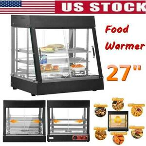 27 Glass Food Warmer Court Heat Food Pizza Display Warmer Cabinet Commercial Us