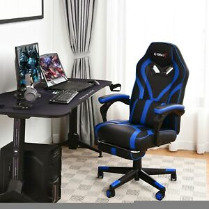 Computer Massage Gaming Recliner Chair With Footrest Heavy duty Base Multi Color