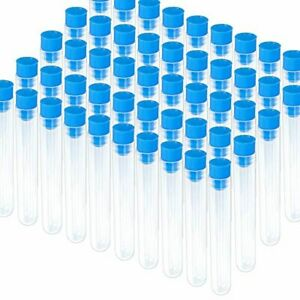 Teenitor 50 Pack Clear Plastic Test Tubes With Blue Caps 16 100mm Good Seal F