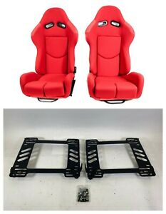 Pair 2 F1spec R1 Red Cloth Racing Reclinable Seats With Sliders Wrx 08 14