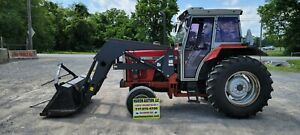 1995 Massey Ferguson 383 Tractor W cab Loader 5593 Hours Just Serviced