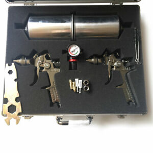 2pc Hvlp Gravity Feed Air Spray Gun Kit Auto Paint Car Primer Basecoat Clearcoat