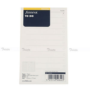 Filofax Book Personal Size Organiser To Do Notepaper Refill Insert 132204 New j