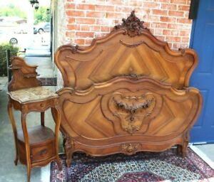 Antique French Walnut Louis Xv Queen Size Bed Nightstand
