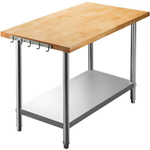 Vevor Maple Wood Top Work Table With Stainless Steel Lower Shelf 36 X 30 X 1 5