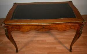 1910s Antique French Louis Xv Walnut Black Leather Top Bronze Writing Desk