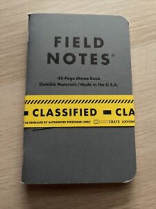 Field Notes Classified Confidential Loot Crate Exclusive Two Memo Books