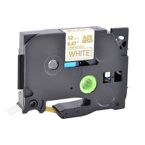 1pk 12mm Compatible With Brother Tz234 Tze234 Gold On White Label Tape P touch