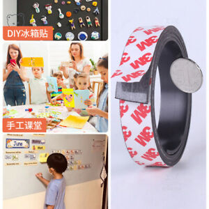 Stick On Magnets Tape Self Adhesive Roll Craft Magnetic Strips 10mm 100mm Wide