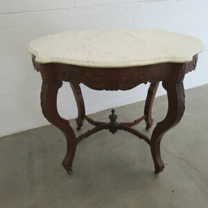 Antique Victorian Marble Turtle Top Walnut Parlor Table