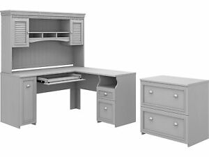 Bush Furniture Fairview 60 L shaped Desk With Hutch And Lateral File Cabinet