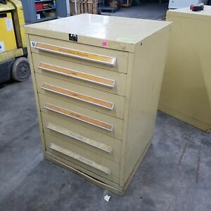 Stanley Vidmar 6 Drawer Industrial Cabinet 28 d X 30 w X 44 h Used