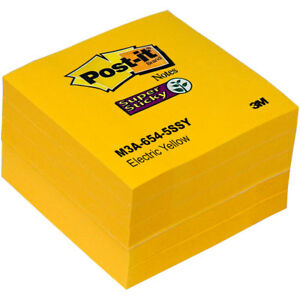 Post it Notes 654 5ssy Electric Yellow Super Sticky 3 X 3 Pack Of 5 Pads
