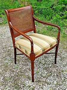 Bent Wood Cane Back Arm Chairs By Hickory Chair Co Pair Of Vintage Arm Chair