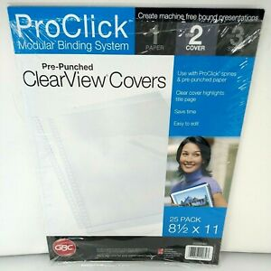 Gbc Impact Proclick Pre punched Presentation Covers 11 X 8 1 2 Clear 25 pack
