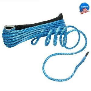Usa 1 4 x50 10000 Lbs Synthetic Winch Rope Line Recovery Cable 4wd Atv Utv Blue