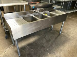 3 Compartment Back Bar Sink 2 Drainboard Stainless Steel Nsf Krowne 18 53c 6333