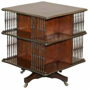 Victorian Antique Howard Son S Revolving Library Bookcase Side End Wine Table