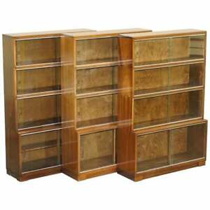 Lovely Suite Of Three Minty Oxford Modualr Stacking Bookcases Mahogany Frames