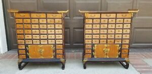 Pair Antique Korean Asian Apothecary Chest Pagoda Cabinet W 39 Drawers