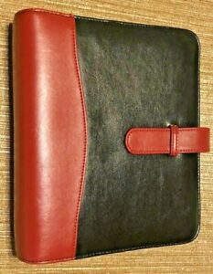 Franklin Covey Planner Black And Red Binder 7 Ring 1 5 Loop And Strap Closure