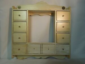 Antique 8 Drawer Wood Wall Cabinet Hand Painted W Brass Hardware 18 X 17 X 3