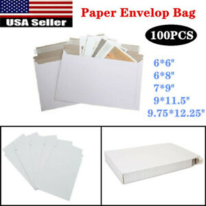 100pcs Rigid Shipping Mailers Paper Envelopes Bags With Self adhesive Strip Us