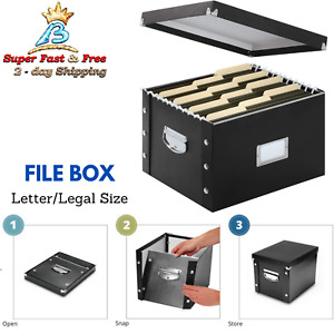 Hanging File Box Letter Legal Size Black Leather Like Snap And Fold Filing Boxes