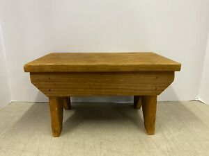 Vintage Antique Hand Made Wood Wooden Foot Stool Primitive Plant Stand