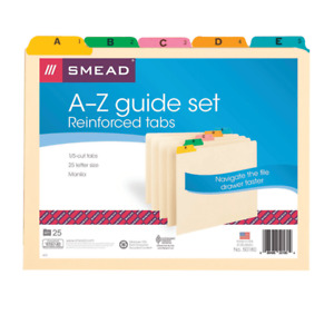 Smead Manila A To Z File Guides With Color Tabs Letter Size 25 pack