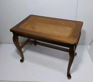 Vintage Vanity Piano Bench Seat Stool Accent Table Cane Top Wood Queen Anne