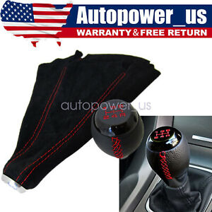 Leather 5 Speed Shift Knob Boot Cover Combo For 98 08 Honda Civic Accord Cr V