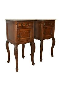 Antique Pair Of French Oak Night Stands Marble Top 1920 S