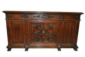 Stunning French Gothic Desk 3 Dimensional Carvings Oak 19th Century